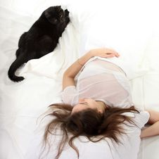 Free Woman With A Cat Stock Photography - 17257462