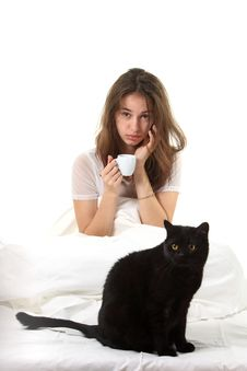 Free Woman With A Cat Royalty Free Stock Photos - 17257468