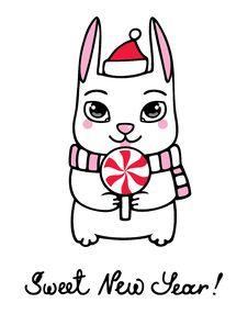 Free New Year Bunny Royalty Free Stock Photo - 17258035