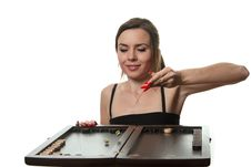 Free Woman Play Backgammon Royalty Free Stock Photo - 17258735