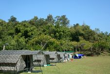 Tent Set Up In Lush Green Campground Royalty Free Stock Photo