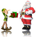Free Santa And Elf Cartoon Passing The Present Royalty Free Stock Image - 17265696