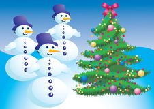 Free Christmas Tree And Snowman. Stock Photos - 17260473