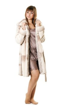 Free A Beautiful Young Girl In A Fur Coat Royalty Free Stock Image - 17260676