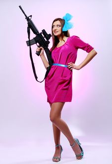 Attractive And Sexy Spy Woman With Assault Rifle Stock Photo