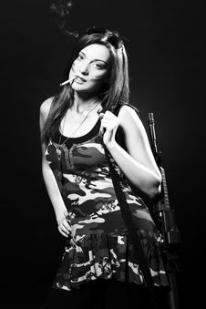 Free Attractive And Sexy Spy Woman With Assault Rifle Royalty Free Stock Image - 17260686