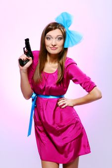 Attractive And Sexy Spy Woman With Assault Rifle Stock Images