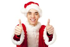 Free Male Santa Claus Teenager Shows Both Thumbs Up Royalty Free Stock Image - 17261426