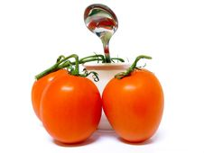 Free Tomatoes, Pot And A Spoon Stock Photography - 17261752