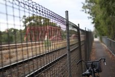 Bicycle Next To Rail Track Stock Photography