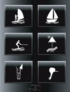 Free Sea Resort Icons Set. Stock Photo - 17262680