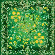 Free Abstract Cracked Floral Ornament On Green Stock Image - 17263001