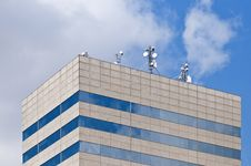 Free Antennas On A Rooftop Of A Modern Building. Stock Photography - 17263382