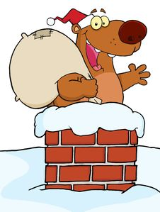 Free Christmas Santa Bear In A Chimney Stock Photography - 17263742