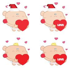 Free Digital Collage Of Cupids Holding Hearts Royalty Free Stock Images - 17263879