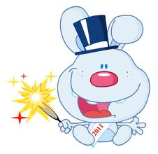Free New Year Rabbit Holding A Sparkler Royalty Free Stock Photography - 17264437