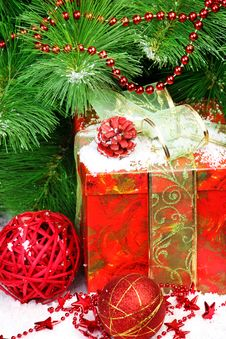 Christmas Tree And Gift Stock Images