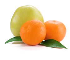 Mandarins And Apple Isolated On White Royalty Free Stock Photos