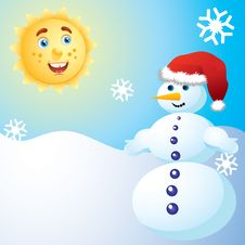 Free Snowman And The Sun. Stock Image - 17266221