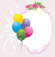 Free Colorful Balloons With Bouquet Of Roses. Card Royalty Free Stock Image - 17266646