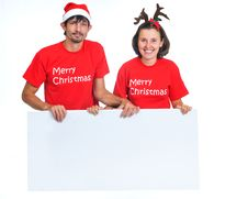 Free Isolated Christmas Couple With Banner Stock Photo - 17266790