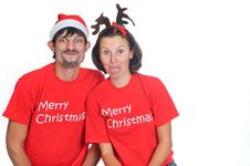 Free Isolated Happy Christmas Couple Hamming Royalty Free Stock Photography - 17266797
