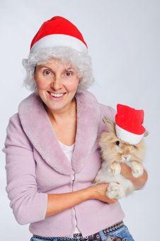 Free Woman In Santa Hat Holding Cute Rabbit Stock Photos - 17266873