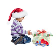 Free Studio Shot Of Little Boy Wearing Santa's Hats Royalty Free Stock Photo - 17266915