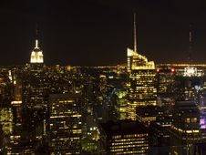 Manhattan Skyline At Night Stock Photo