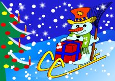 Free Snowman On Sled Stock Image - 17269121