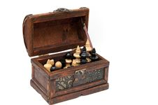 Old Box With Chess Figures Royalty Free Stock Photo