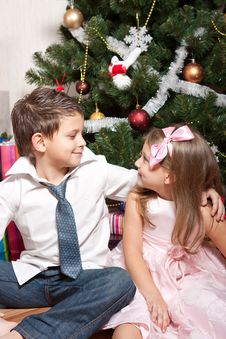 Free Girl And Boy Near A Fir-tree Stock Photo - 17269960