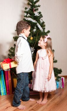 Free Girl And Boy Near A Fir-tree Stock Images - 17269974