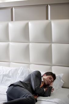 Free Businessman Asleep In Bedroom Stock Photography - 17270652