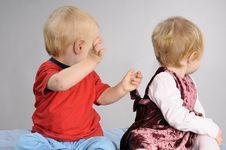 Free Caucasian Babies Playing Royalty Free Stock Image - 17274176