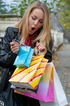 The Beautiful Young Girl With A Shopping Bags. Sur Royalty Free Stock Photography