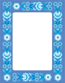 Free Blue Floral Frame In Folk Style Royalty Free Stock Photos - 17274398
