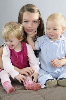 Three Children Playing Royalty Free Stock Image