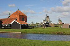 Dutch Windmill Village Stock Photos
