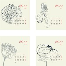 Free Calendar With Flowers For 2011 Royalty Free Stock Photos - 17275118