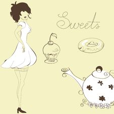 Free Woman With Sweets Royalty Free Stock Photo - 17275145