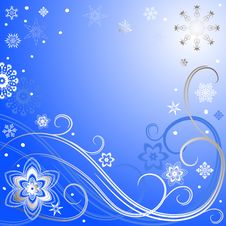 Blue-silvery Christmas Frame Royalty Free Stock Photos