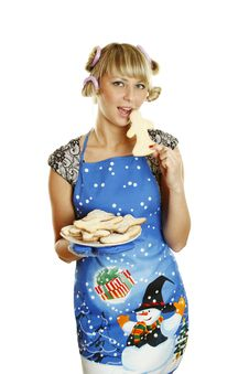 Free Young Woman Prepared Cookies For Xmas Stock Image - 17276001