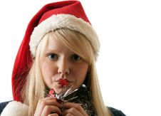 A Beautiful Young Blonde In A Santa Royalty Free Stock Photos