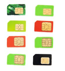 Free Eight Colorful Sim Card Royalty Free Stock Photography - 17276297