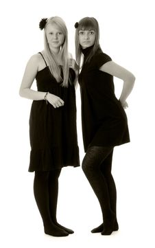 Two Girls In Black Dresses (black And White) Stock Image
