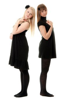 Two Girls In Black Dresses Royalty Free Stock Photo