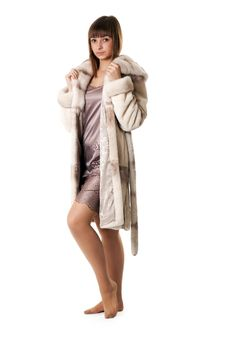 Free A Beautiful Young Girl In A Fur Coat Stock Images - 17276924