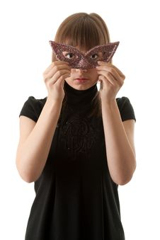 Free Beautiful Girl In Black Dress And Wearing A Mask Royalty Free Stock Photos - 17277068