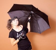 Free Girl With Umbrella Royalty Free Stock Photography - 17277257